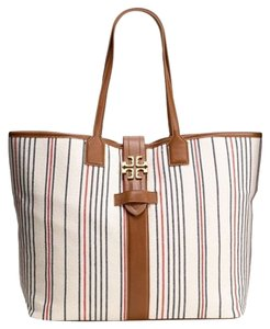 Tory Burch Blue Beige Leather Canvas Striped Nautical Large Gold Hardware Buckle Logo Monogram Dash Dash East West Tote in Multi-color