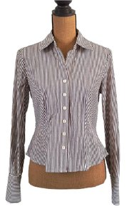 Anne Klein Striped Fitted Button Up Dress Shirt Button Down Shirt Brown