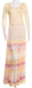 Yellow, Red, Pink Maxi Dress by Missoni Knit Striped Chevron Longsleeve V-neck