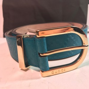 Gucci Gucci 354382 Unisex Diamante Leather Belt Teal 90-36