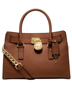 Michael Kors Mk Hamilton Mk Hamilton Mk Saffiano Leather Satchel in LUGGAGE BROWN/GOLD Hardware