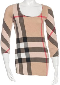 Burberry Nova Check Monogram Cotton Top Beige, Black