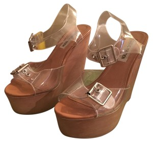 Steve Madden clear & brown Wedges