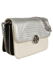 Tory Burch Leather Magnetic Closure Silver Chain Shoulder Bag