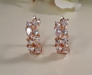 Rose Gold Cz Bridal Hoop Earrings