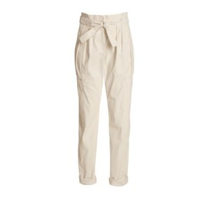 Worth Casual Paperbag Waist Wax Sheen Tapered Khaki/Chino Pants Oat