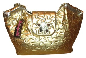 Betseyville Quilted Man Made Fabric Star Tote in silver & gold