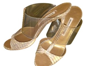 Manolo Blahnik Metallic tan Sandals