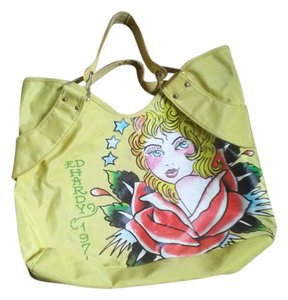 Ed Hardy Tote in yellow print