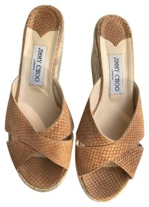 Jimmy Choo Tan/Brown & Creme Wedges