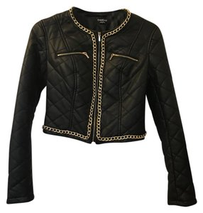 bebe Black/Gold Trim Leather Jacket