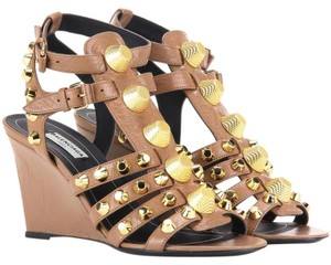 Balenciaga Studs City Valentino Rockstud Beige Brown Wedges