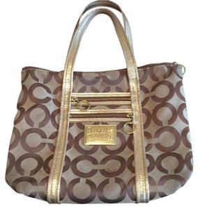 Coach Tote in light & med brown with gold handles and trim