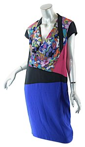 Etro short dress Red, Blue, White, Black, Multi Silk Blend Color Block on Tradesy