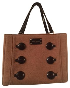 Kate Spade Wool Leather Polkadots Satchel in Tan & Black