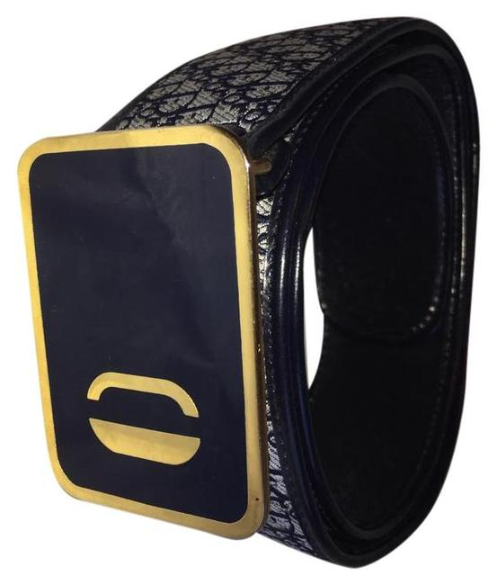 Item - Navy Oblique Square Buckle Canvas and Leather Belt