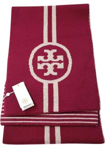 Tory Burch NEW!!! Tags Merino Burgundy Wool Reversible Logo Striped Winter Scarf