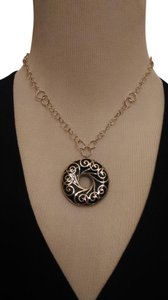 QVC Onyx sterling silver scrolled pendant w chain