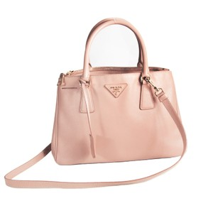 Prada Saffiano Leather Gold Tote Satchel in Pink