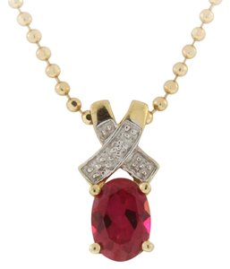 Other Vintage Ruby X Pendant- 10k Yellow Gold