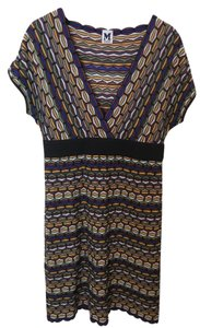 M Missoni short dress Blue, Black, Yellow, Green Multi Cap-sleeve V-neck Knit on Tradesy