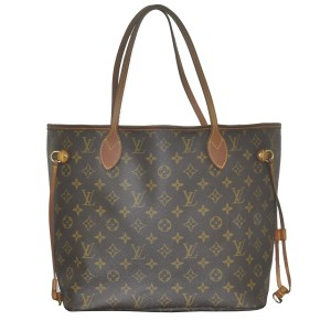 Louis Vuitton Neverfull Mm Canvas Handbags Tote in Brown