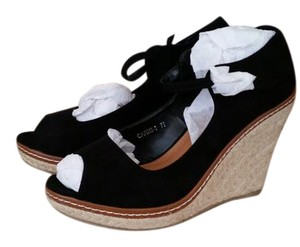 Machi Black suede Wedges