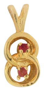 Other Antique Double Halo And Ruby Pendant- 14k Yellow Gold