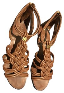 Tory Burch Woven Wedge Brown Almond Sandals