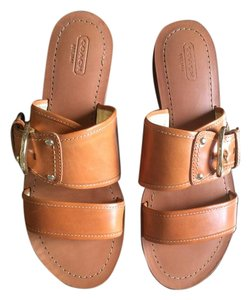 Coach Buckle Flat Leather Tan Sandals