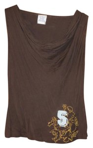 Triple Five Soul 5 Muscle Tee Sewn Top Dark Brown with Gold and Light Blue design