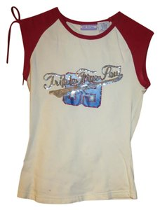 Triple Five Soul 5 Sequin And Patriotic Top White with Red White Blue design