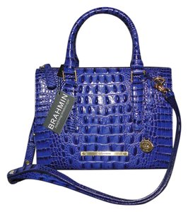 Brahmin Leather Satchel Croco Embossed Cross Body Bag