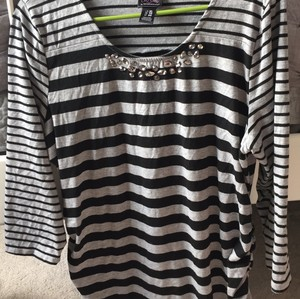 Motherhood Maternity T Shirt black and gray stripes