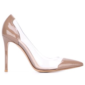 Gianvito Rossi Natural Plexi Point-toe Patent Leather Brown/Clear PVC Pumps