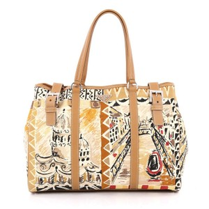 Prada Canvas Leather Tote in Beige and Brown
