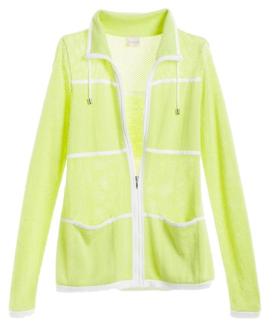 Chico's Soft Lime Zenergy Mes Knit Sweater Jacket Size 12 (L) Chico's Soft Lime Zenergy Mes Knit Sweater Jacket Size 12 (L) Image 1