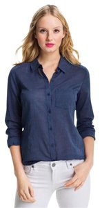 Caslon Relaxed Lightweight Button Down Shirt Blue