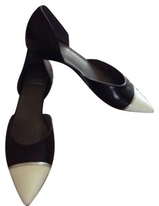 Stuart Weitzman Black with White Flats