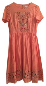 Clad and Cloth short dress peach Embroidered on Tradesy