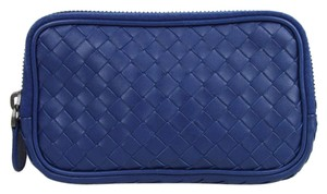 Bottega Veneta Blue Woven Leather Smartphone Case Coin Purse 325156 4217