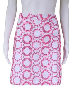 Banana Republic Cotton Eyelet Skirt White and Coral