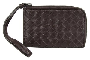 Bottega Veneta BOTTEGA VENETA Brown Woven Leather Wristlet Coin Purse 244825 2040
