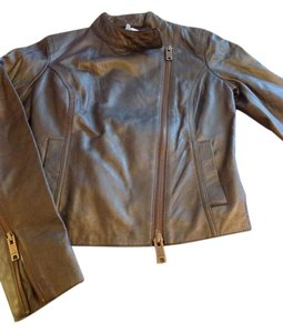 DKNY Brown, slightly irredescent Leather Jacket