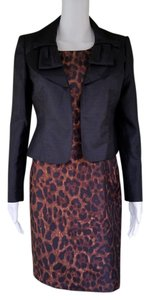 Le Suit New LE SUIT Black Lepard Print Dress Suit 4P petite 4