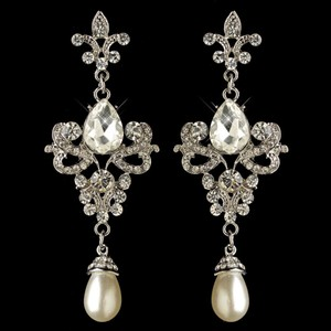 Elegance By Carbonneau Fleur De Lis Crystal And Pearl Silver Wedding Earrings