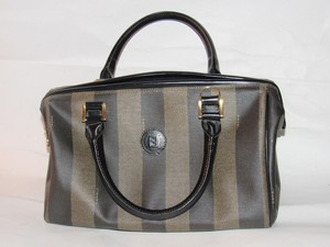 Fendi M-l Size Satchel in Wide Tobacco Striped Coated Canvas & Brown Leather
