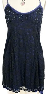 Free People short dress Black Burnout Size Small Mini on Tradesy