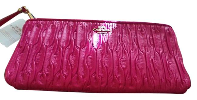 Coach Shocking Pink Gathered Leather Wristlet Coach Shocking Pink Gathered Leather Wristlet Image 1