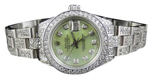 Rolex Ladies Stainless Steel Rolex Datejust Green MOP Dial Diamond Watch 8ct